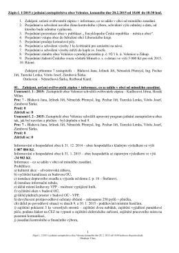 Zápis ze zasedání ze dne 20.2.2015