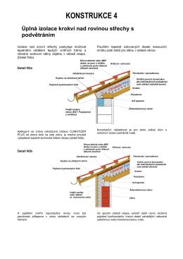 KONSTRUKCE 4 Úplná izolace krokví nad rovinou střechy s
