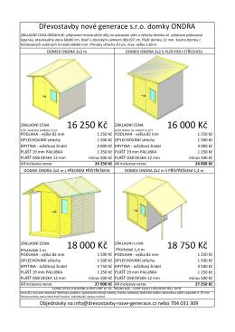 Katalog zahradních domků ONDRA s cenami a doplňky si můžete