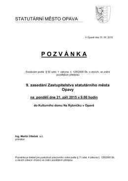 9. zasedání Zastupitelstva statutárního města Opavy