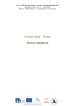 Inovace výuky – Fyzika Simona Sabáková