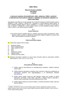 OBEC ŘEKA Obecně závazná vyhláška obce Řeka č.1/2015 o