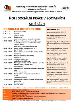 Program konference - Asociace poskytovatelů sociálních služeb