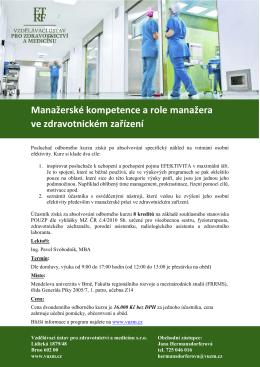Manažerské kompetence a role manažera ve zdravotnickém zařízení
