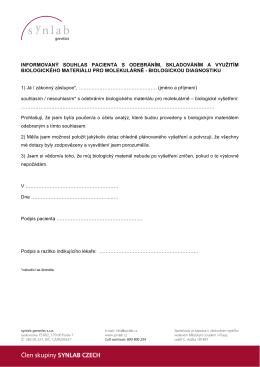 informovaný souhlas pacienta s odebráním, skladováním a využitím