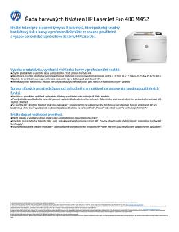 Řada barevných tiskáren HP LaserJet Pro 400 M452