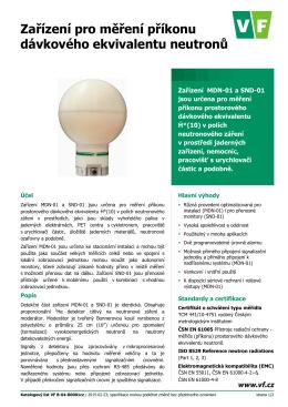 Katalogový list MDN-01 monitor neutronů