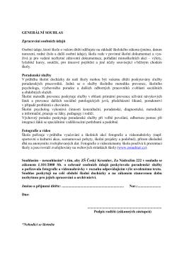GENERÁLNÍ SOUHLAS - Základní škola Za Nádražím, Český Krumlov