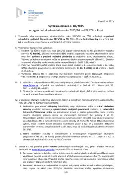 Vyhláška děkana č. 4D/2015