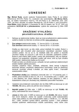 Dražební vyhláška pro elektronickou dražbu č.j.: 76 EX 806/10-51