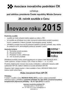 Inovace roku 2015 Inovace roku 2015