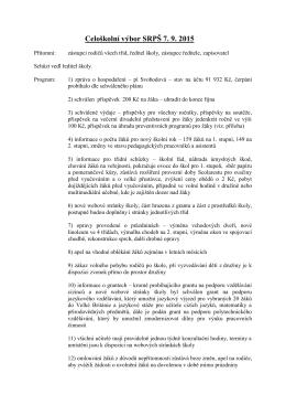 Zápis z jednání výboru SRPŠ 7. 9. 2015