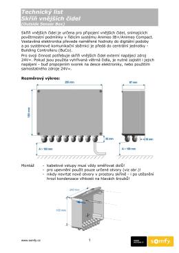 Technický list Skříň vnějších čidel