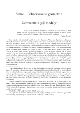 Seriál – Lobačevského geometrie Geometrie a její modely1