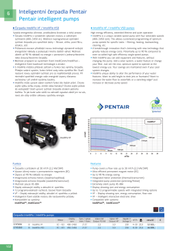 Inteligentní čerpadla Pentair Pentair intelligent pumps