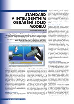 standard v inteligentním obrábění solid modelů