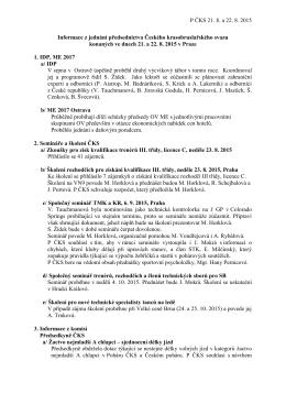 Informace z jednání předsednictva Českého krasobruslařského svazu