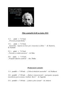 Plán seminářů KAR na leden 2016