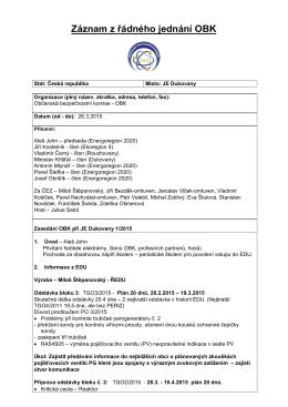 Záznam z jednání OBK - Občanská bezpečnostní komise při jaderné