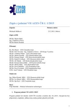 Zápis AZZS 1/2015 - Asociace zdravotnických záchranných služeb ČR