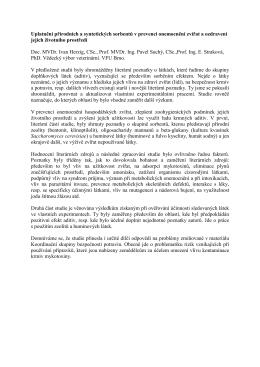 Uplatnění přírodních a syntetických sorbentů v prevenci onemocnění