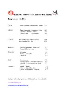 Plán akcí 2016 - Sokol Benátky nad Jizerou