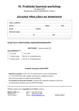 IV. Praktický laserový workshop - Medici-H