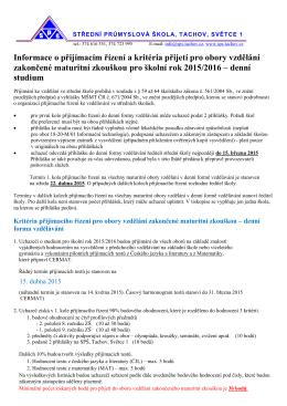Informace o přijímacím řízení a kritéria přijetí pro obory vzdělání