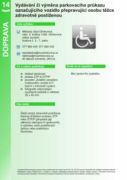 Vydávání či výměna parkovacího průkazu označujícího vozidlo