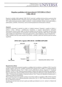 Termostatická regulace konvektorů URK 230-S3