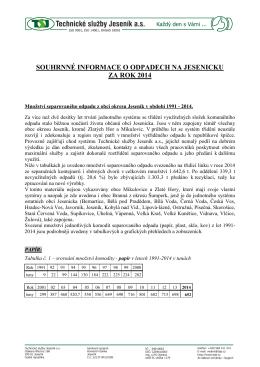 souhrnné informace o odpadech na jesenicku za rok 2014