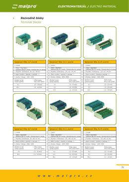 • Rozvodné bloky Terminal blocks ELEKTROMATERIÁL