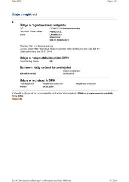 Údaje o registrovaném subjektu Údaje o nespolehlivém plátci DPH