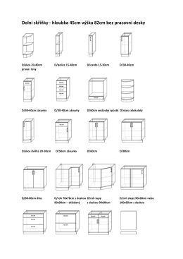 Dolní skříňky - hloubka 45cm výška 82cm bez pracovní desky