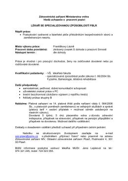 Lékař_Františkovy Lázně - Zdravotnické zařízení Ministerstva