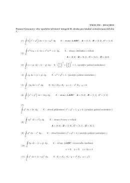 VKM/IM - 2014/2015 Pomocí Greenovy věty spočtěte křivkový
