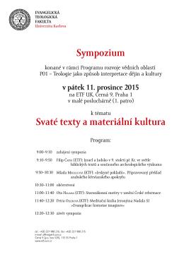 Sympozium Svaté texty a materiální kultura