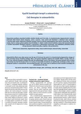 Využití buněčných terapií u osteoartrózy