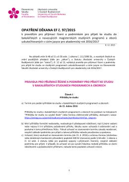 97/2015 - Ekonomická fakulta Jihočeské univerzity v Českých
