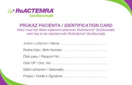 RoActemra - cestovní karta