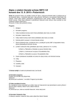 Zápis z volební členské schůze, 13. 9. 2015