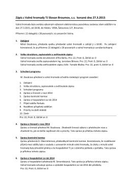 Zápis z Valné hromady TJ Slovan Broumov, z.s.