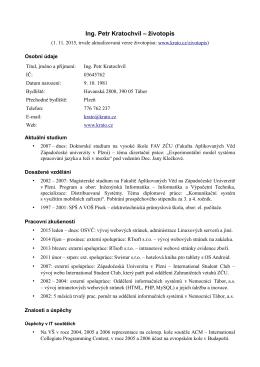 CV v češtině - Ing. Petr Kratochvíl
