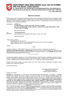 Opravné usnesení o nařízení elektronického dražebního jednání
