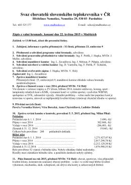 Zápis valné hromady SCHCS, konané dne 22.5.2015 Mnětících.
