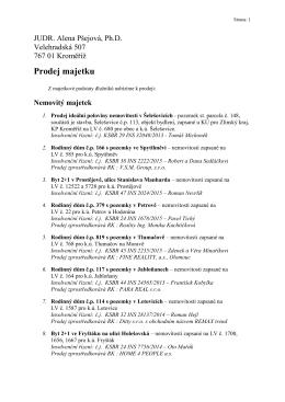 Prodej majetku - JUDr. Alena PŠEJOVÁ, Ph. D.