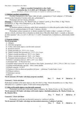 Zápis ze zasedání ZO Sadov 11.11.2015