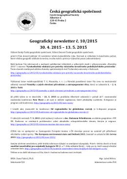 Newsletter 2015/10 - Kartografická společnost ČR