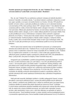 Posudek oponenta pro inaugurační řízení doc. ak. mal