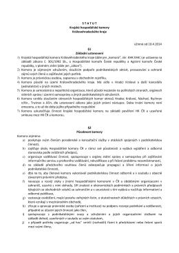 Statut KHK KHK - Krajská hospodářská komora KHK